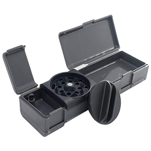 Combie Grinder - All in One Herb Grinder with Rolling Papers. Perfect for rolling on the go (Black)