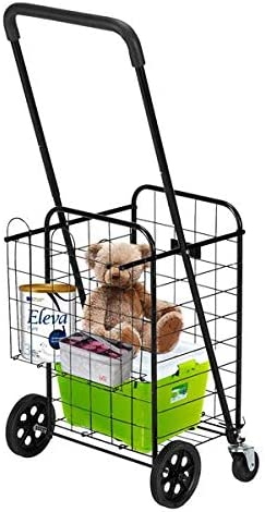 Shopping Cart with Dual Large-scale sale Swivel Foldabl Wheels Double and Basket 2021 spring and summer new