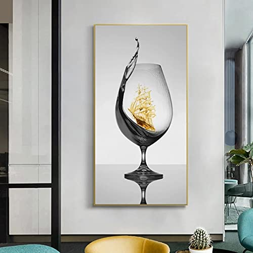 Arte De La Lona Copa De Vino RomáNtica Moderna Con Velero Imagen De Pared Abstracta Para GaleríA Comedor Bar DecoracióN Para El Hogar PóSter Cuadros 50x100cm Sin Marco