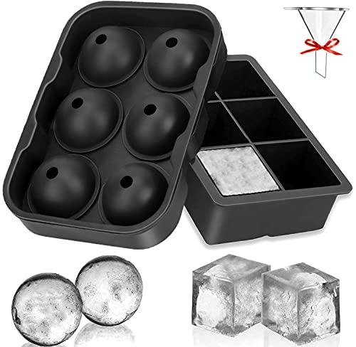 Eiswürfelform, 45mm Eiskugelform 48mm 6-Fach 2-Set Eiswürfelformen Silikon Eiswürfelbehälter Ice Cube Tray Eiswürfel Form BPA Frei für Whisky Cocktails Saft Schokolade Süßigkeiten (Schwarz)
