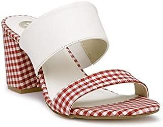 KANABIS Women's Slip-on Block Heels Gingham Fashion Sandals