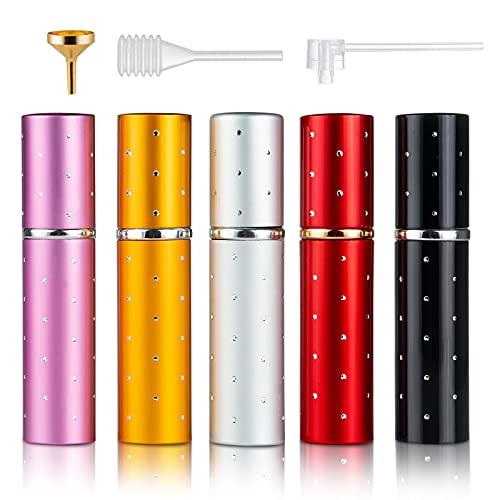 Taumie 5 Pcs Atomizador Perfume, 10ML Atomizador de Perfume Pulverizador, Spray de Perfume Portátil, Bomba Recargable Perfume Spray Frasco, Botella Vacío Pulverizador Viaje, con Embudo