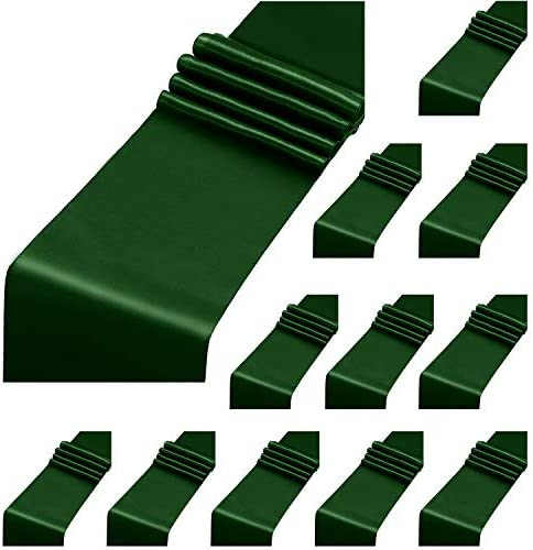 Aneco 12 Pack Satin Table Runner 12 x 108 Inch Forest Green Long Wedding Satin Silk Table Runner product image