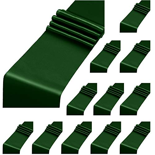 ANECO 12 Pack Satin Table Runner 12 x 108 Inch Forest Green Long Wedding Satin Silk Table Runner for Wedding Banquet Graduations Birthday Party Decoration
