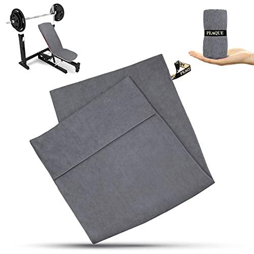 PEAQUE Fitness-Handtuch aus Mikrofaser mit Frottee-Struktur, Sporthandtuch für Fitnessstudio, Microfaser Gym-Handtuch (Grau, 120 x 50, T)