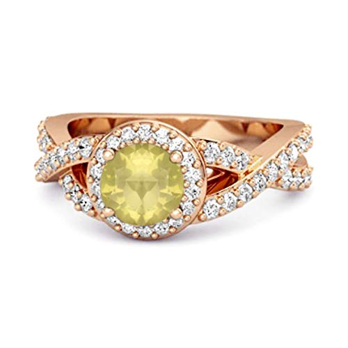 Shine Jewel Multi Elija su Piedra Preciosa Solitaire Accents Anillo Infinito Chapado En Oro Rosa De Plata De Ley 925 De 0.25 Quilates (16, limón-Cuarzo)