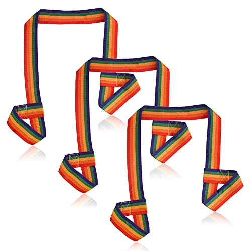 AUXSOUL 3 Stück Skate Leash Trageriemen Verstellbarer Trageriemen für Yoga Matte Roller Skate Leash für Quads Trageriemen für Decke (Regenbogen)