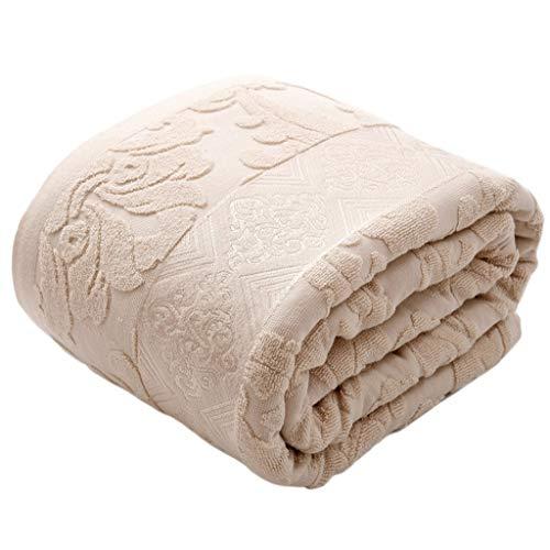 HiiGlife Decke Handtuch wurde Baumwolle Throw Klimaanlage Quilt Weighted Nap Blanket leichte Bett oder Couch Decke erhöhen (Color : Apricot, Size : 220cmX240cm)