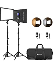 """Neewer Led Video Light Panel Lighting Kit, 2-Pack 12.9"""" Dimmable Bi-Color Soft Lights with Light Stand, Built-in 8000mAh Battery, 3200K~5600K CRI 95+ 2400Lux for Game/Live Stream/YouTube/Photography"""