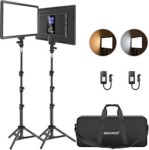 Neewer Led Video Light Panel Lighting Kit, 2-Pack 12.9' Dimmable Bi-Color Soft Lights with Light...