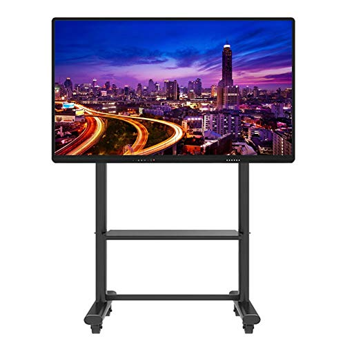 ERRU Mobile TV Cart for 55 60 65 70 75 80 85 90 95 Inch Plasma Flat Screen TVs, Company TV Floor Stand with Wheels, Max VESA 800x600mm