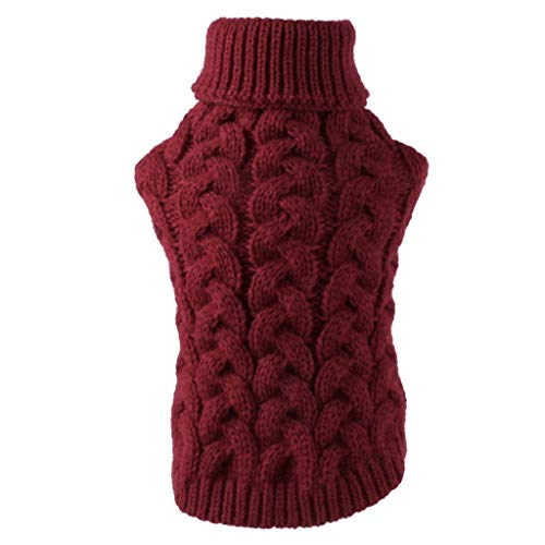 Xmiral Cappotto Felpa Gilet Pet Dog Maglieria Camicia Warm Pets Cat Warm Clothes (L,8Vino)