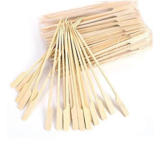 Nicedier Pinchos de Madera Barbacoa Palos de bambú Kebabs práctica Paddle Largo Palillos para barbacoas Fruit Snacks 18cm 100pcs Accesorios para Barbacoa