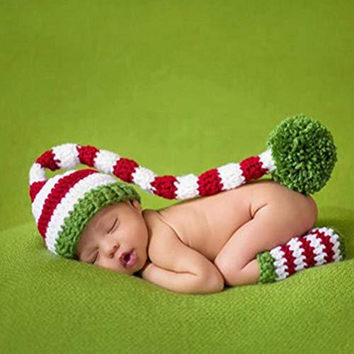 Bonheur - Accesorio para fotografía de bebé, trenzado, gorro de Navidad y zapatos de fotografía suave para bebé, diseño de cola larga para bebé