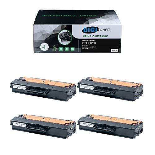 TonerPlusUSA Compatible DELL1260 DELL1265 Toner Cartridge � DELL-1260 DELL-1265 High Yield Toner Cartridge Replacement for DELL Laser Printer � Black [4 Pack]
