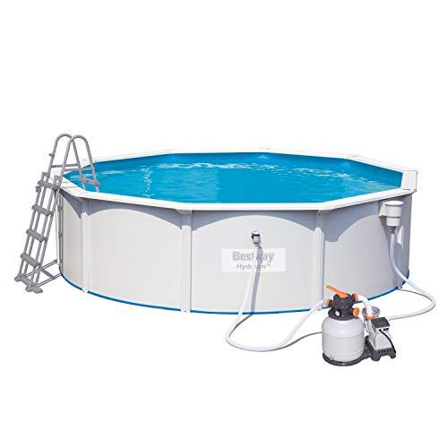 Bestway Hydrium Stahlwandpool-Set mit Sandfilteranlage, Sicherheitsleiter & Bodenplane 460 x 120 cm
