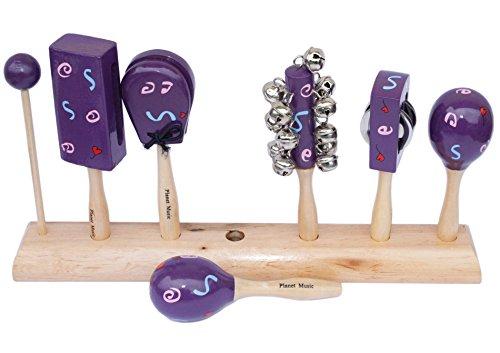 Planet Music - Percussion Set echtes Holz + lila + handbemalt auf Holzständer