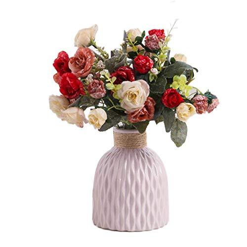 Cinlla Jarrón de cerámica para flores secas, jarrón de flores, diseño moderno minimalista, jarrón decorativo para salón, cocina, mesa, hogar, oficina, boda, color rosa