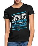 Spreadshirt Célibataire en Couple Au Badminton T-Shirt Femme, L, Noir
