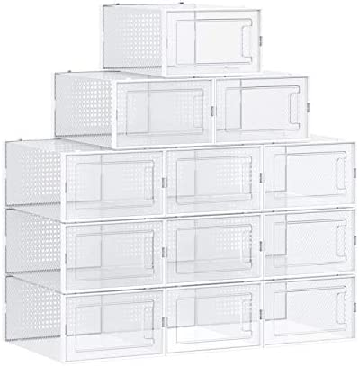 12 Pack Shoe Storage Boxes Clear Plastic Stackable Shoe Organizer For Closets and Entryway Front product image