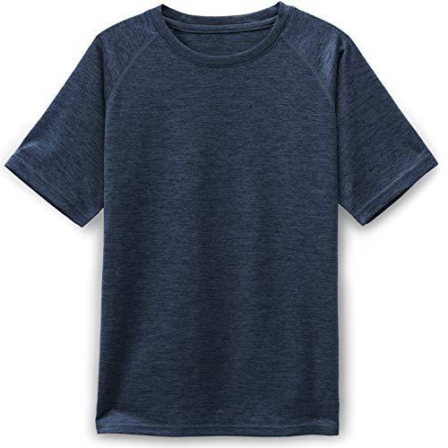 TSLA Kids Youth Running Shirts, Cool Dry Fit Gym Sports Workout Shirts, Athletic Short Sleeve T-Shirts, Hyper Dri Crewneck(kts01) - Slate Grey, Small
