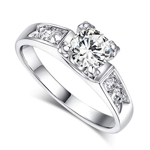 XINYIU Classical Cubic Zirconia Forever Wedding Rings for Women Rose Gold Color Solitaire Rhinestones Lovers Ring Jewelry
