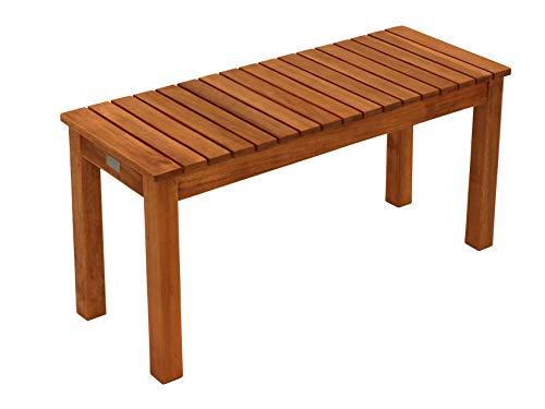 Hockerbank Merida ohne Rückenlehne, massives Eukalyptus Holz, 78cm Breite, FSC®-Zertifiziert