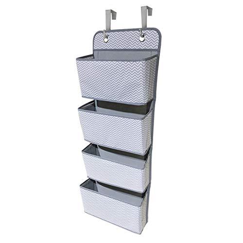 Willand Organizador de almacenamiento con 4 bolsillos para colgar en la puerta, armario con 2 ganchos