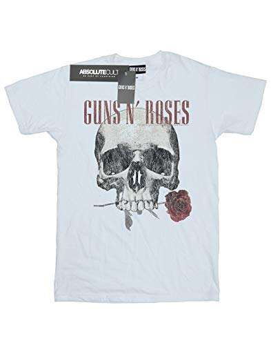 Guns N Roses Men's Flower Skull T-Shirt X-Large White