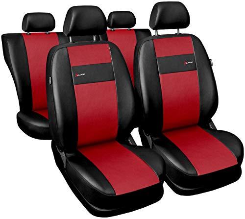 Carpendo Sitzbezüge Auto Set Autositzbezüge Schonbezüge Vordersitze und Rücksitze mit Airbag System X-Line - Rot