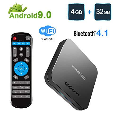 ESHOWEE KM9 Android 9.0 TV Box Amlogic S905X2 Quad-core CPU DDR4 4GB RAM 32GB ROM BT 4.1 2.4/5G Dual-Band WiFi 4K UHD and LAN VP9 DLNA