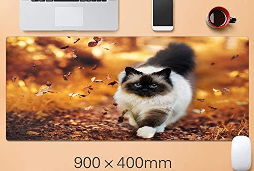 alfombrilla de ratón teclado Elegante gato lindo hojas de otoño alfombrilla de ratón para juegos de gran tamaño almohadilla de teclado xxl almohadilla de escritorio antideslizante impermeable suave