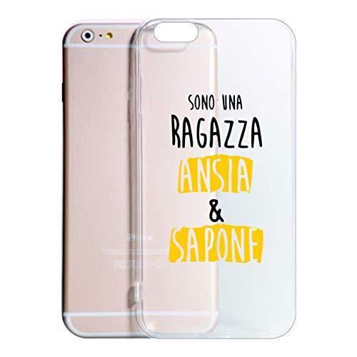 Social Crazy Cover Compatibile con Tutti i Modelli di iPhone - Sono Una Ragazza ANSIA E Sapone - Trasparente Vari Colori UltraSottili AntiGraffio Antiurto Case Custodia