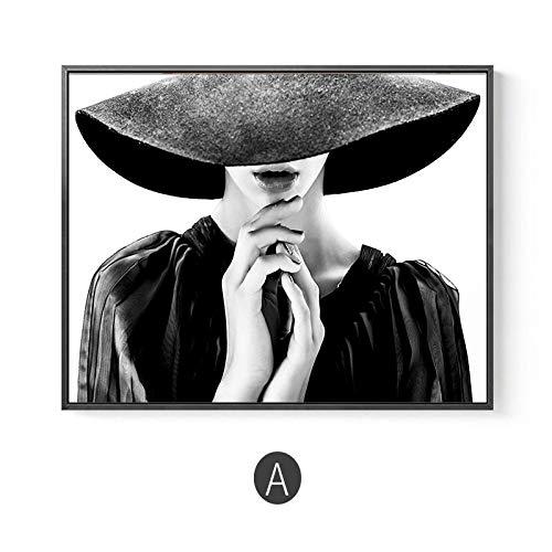 yiyiyaya Art Lady with Hat Fashion Bilder für Wohnkultur Moderne Schwarz-Weiß-Kunst Posterdruck im nordischen Stil auf Leinwand 60x80cm