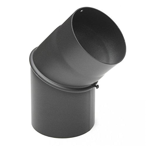 raik SH133-150-gg Rauchrohrbogen/Ofenrohr 150mm - 0° - 45° ohne Reinigungsöffnung gussgrau
