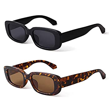 BUTABY Rectangle Sunglasses for Women Retro Driving Glasses 90's Vintage Fashion Narrow Square Frame UV400 Protection Black & Tortoise