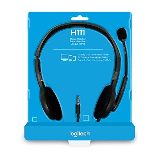 Logitech H111 Wired Headset, Stereo Headphones with Noise-Cancelling Microphone, 3.5 mm Audio Jack for PC/Mac/Laptop/Smartphone/Tablet, Black