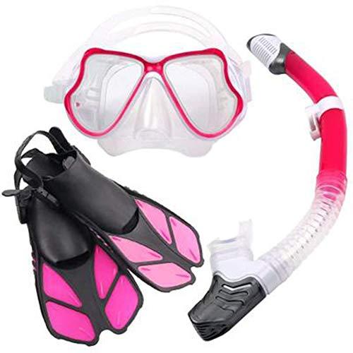 ZXCV Schnorchel-Set Mit Anti-Fog-Anti-Leak-Tauchmaske mit Dry-Top-Schnorchel - Verstellbare Schwimmflossen aus Silikon,Pink,L\\XL
