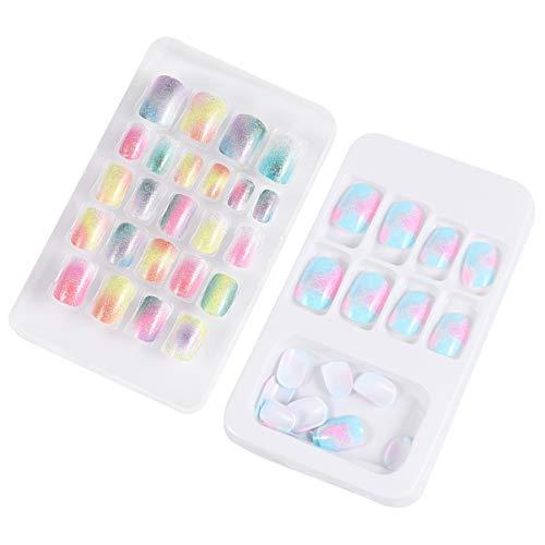 FOMIYES 48 unidades/2 cajas de uñas postizas preciosas uñas postizas autoadhesivas uñas artificiales para niños niñas pequeñas (coloridas)