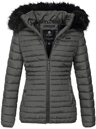 Navahoo Designer Damen Winter Jacke Steppjacke Stepp Winterjacke B655 [B655-Aran-Anthrazit-Gr.L]