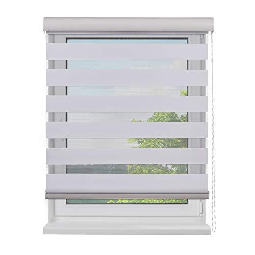 Fensterdecor Doppel-Rollo mit Aluminium-Kassette, Rollo für Fenster mit seitlichem Kettenzug, Seitenzug-Rollo mit Blende in Weiß für Innen-Bereich, lichtdurchlässig u. verdunkelnd, 120 x 230 cm