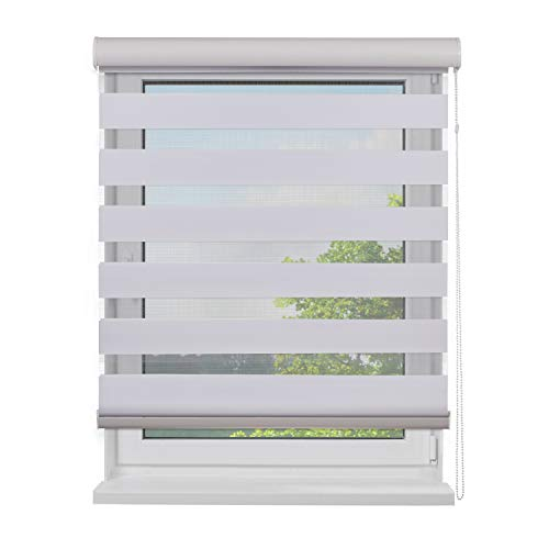 Fensterdecor Doppel-Rollo mit Aluminium-Kassette, Rollo für Fenster mit seitlichem Kettenzug, Seitenzug-Rollo mit Blende in Weiß für Innen-Bereich, lichtdurchlässig u. verdunkelnd, 120 x 180 cm