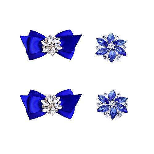 Elegantpark CQ Schleife Strass Geschenk Flasche Pumps Hochzeit Brautschuhe Abendschuhe Dekoration Accessories Schuhclips 2 Paare Blau