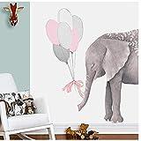 pegatina pared Elefantes con globos Calcomanías de pared de arte Decoración de guardería para bebés Pegatinas de pared de dibujos animados para decoración de habitaciones de niños 60x90cm