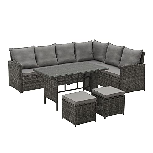 SVITA Monroe Garten-Lounge Set Polyrattan Lounge-Möbel Sitzgruppe Garten Grau