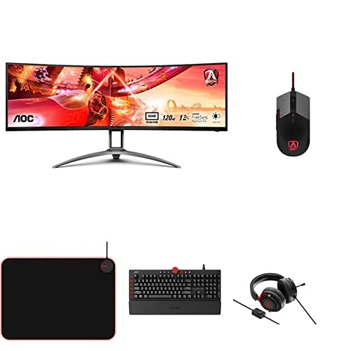 AOC Monitor Agon AG493UCX - 49' Curved 1800R, Dual QHD, 120 Hz, 1ms, VA, FreeSync Premium Pro, 5120x1440, 550 CD/m, HDMI 2x2.0 + Ratón de Gaming + Auriculares + Teclado + Alfombrilla para ratón