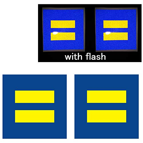 """2X Equality 4"""" Support Love LGBT Pride Marriage Equal Blue Yellow Reflective Decal Decals Vinyl Sticker Safety Night Rear for Motorcycle Bike Bicycle Car Helmet Trunk Tailgate Laptop Notebook Window"""