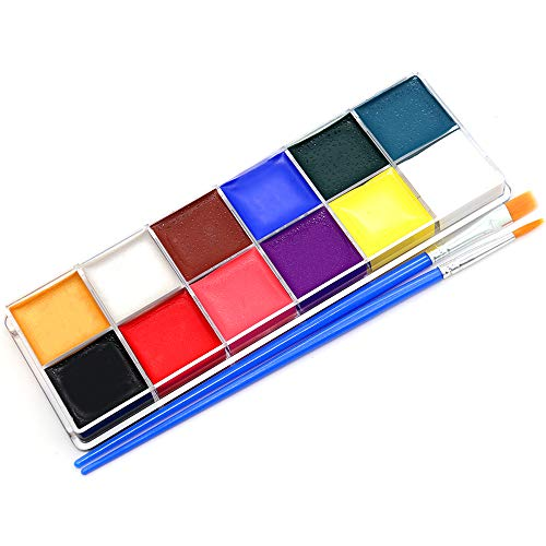 Face Paint Sets for Kids & Adults,Non-Toxic & Safe 12 Vibrant Colors Body Painting Kits - Video Tutorials & eBook - Fun, Easy to Use