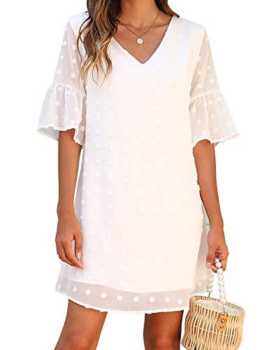 Blooming Jelly Womens White Dresses Short Sleeve V Neck Ruffle Cute Sun Dress Chiffon Flowy Shift Mini Dress(M,White)
