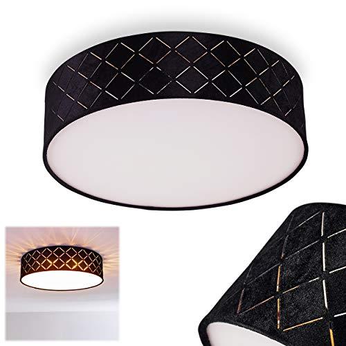 Deckenleuchte Chazy, runde Deckenlampe aus Kunststoff/Textil in Weiß/Schwarz/Gold, 1-flammig, 1 x E27-Fassung, 15 Watt, Retro/Vintage-Design, geeignet für LED Leuchtmittel